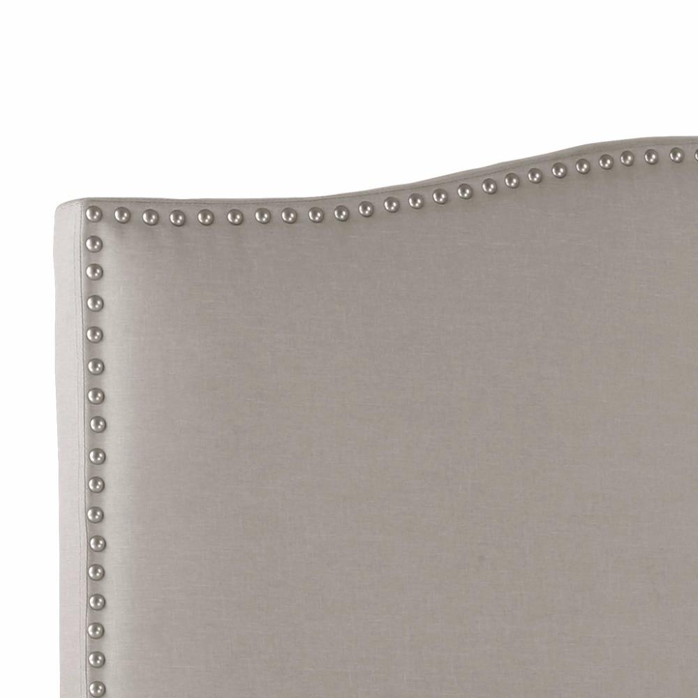 Langria reina completa nailhead Lino lujo tapizado Muebles cabecera ...