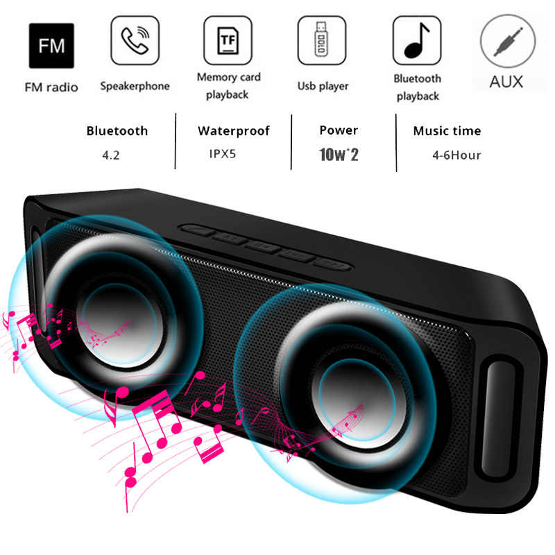 LIGE Portable Bluetooth speaker Portable Wireless Loudspeaker Sound System 10W stereo Music surround Waterproof Outdoor Speaker