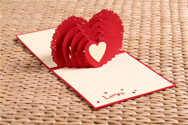 Hot Sale Red Fashion Design 3D Heart Pop up Cards Birthday Love – Birthday Love Greeting Cards