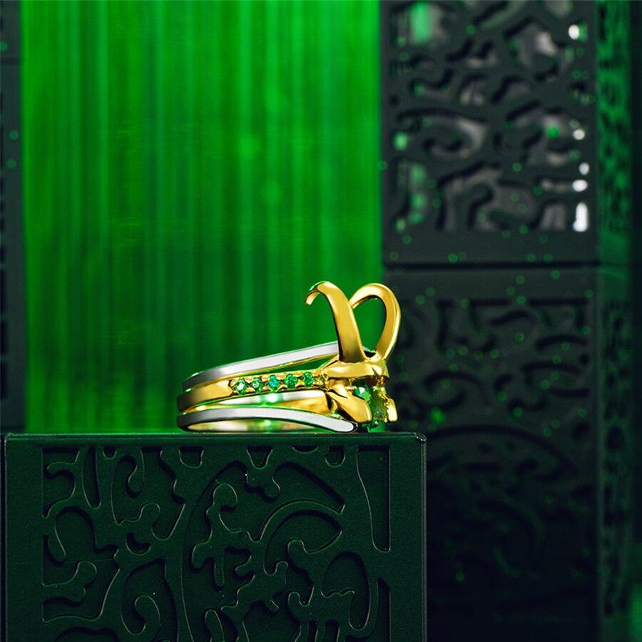 Super-héros Thor Loki casque paquet de 3 empilables unisexe 925 argent plaqué or anneaux hommes charme bijoux femmes saint valentin cadeaux - 4