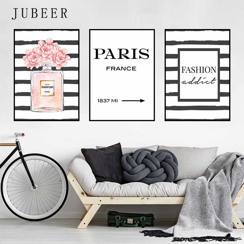 Nordic Fashion Wall Art Canvas Painting Perfume Bottle Paintings On the Wall Paris  Pictures for Bedroom Decoration Home