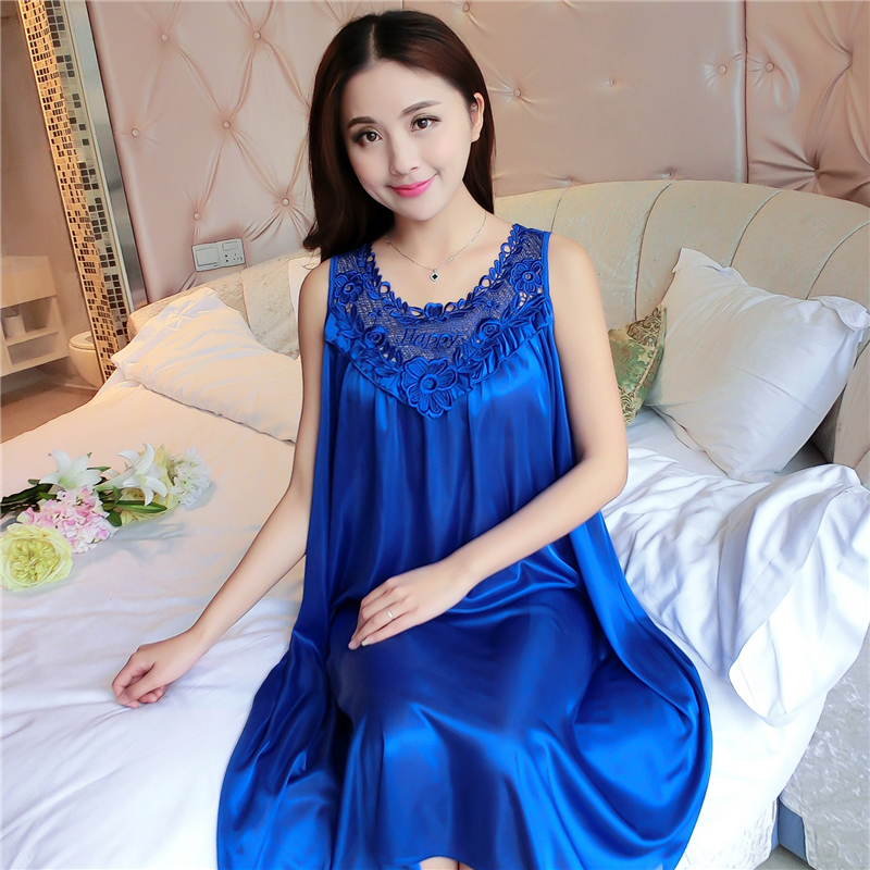 Plus Size 4XL Women's Sexy Sleeveless Sleepwear   Nightgowns   2018 Summer Ladies Lace Long Sleepdress Female   Sleepshirts   Nightdress