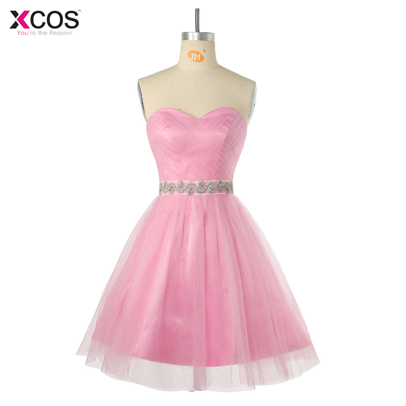 2018 Girls Pink Homecoming Dresses A-line Sweetheart Sleeveless Tulle Beaded Belt Short Mini Elegant Robe De Cocktail Dress