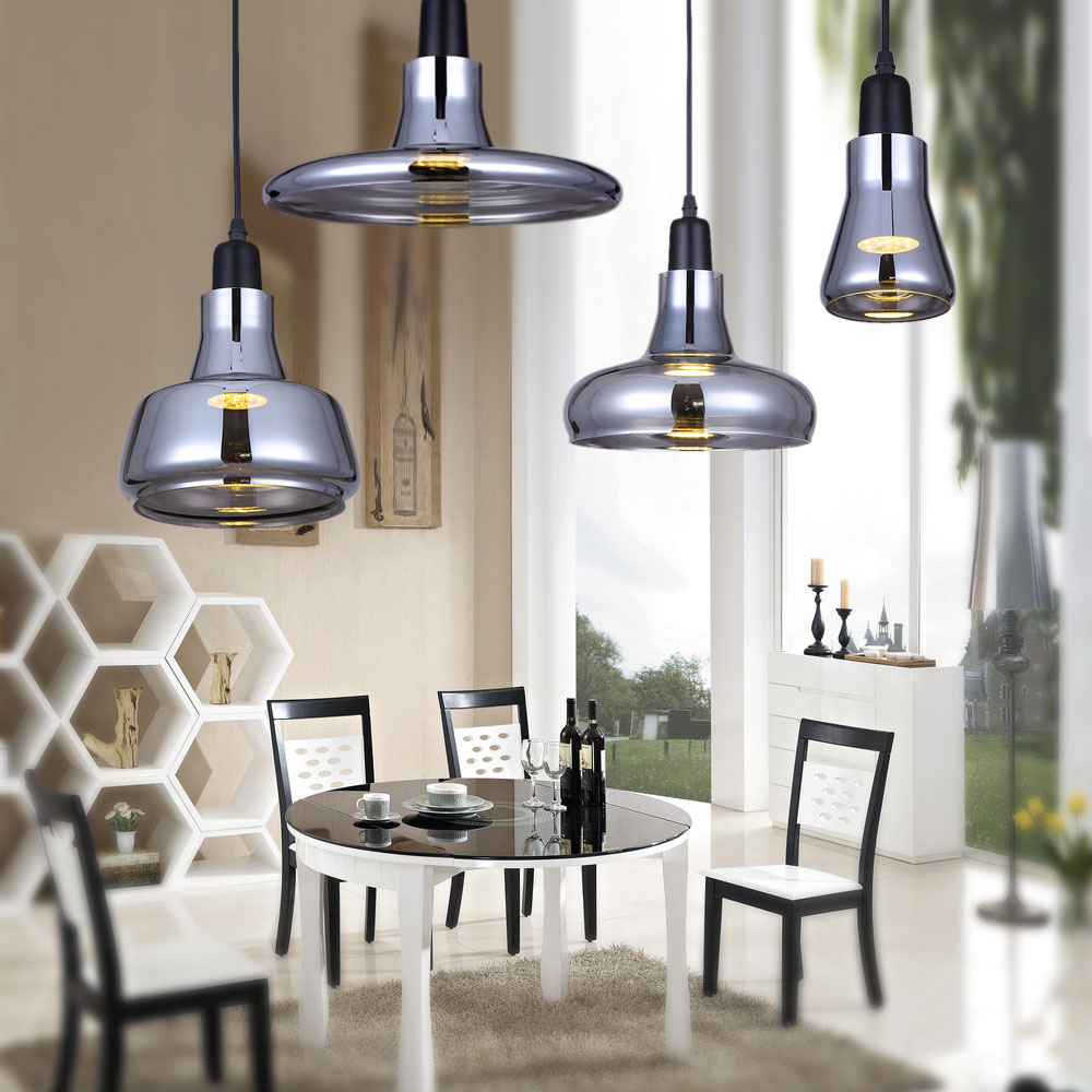 Modern Home Light Gray Smoke Glass Pendant Light Bedroom Dining Room  Kitchen Hanging Pendant Lamps Droplight