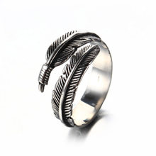 Women Ancient Style Thai Silver Do The Old Feather Open Rings For Lady Prevent Allergy Sterling Jewelry(China)