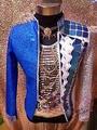Azul outwear chaqueta para bailarín del cantante rendimiento bar discoteca novio hombre bar hombres de moda custumes