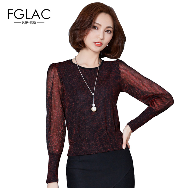 66278fc9232 FGLAC Women blouses Fashion Casual long sleeved Mesh tops 2017 Spring  patchwork women tops plus size blusas shirts