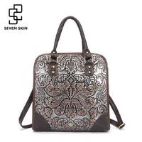 Famous Brand Ladies Handbags Genuine Leather Women Bag Casual Tote Floral Print Shoulder Bags 2016 Sac