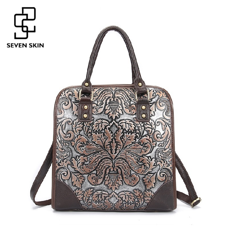 Famous Brand Ladies Handbags Genuine Leather Women Bag Casual Tote Floral Print Shoulder Bags 2017 Sac New Luxury Large Tote Bag new genuine leather bags for women famous brand boston messenger bags handbags tassel tote hand bag woman shoulder big bag bolso