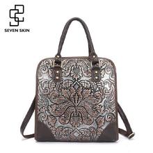 Famous Brand Ladies Handbags Genuine Leather Women Bag Casual Tote Floral Print Shoulder Bags 2017 Sac