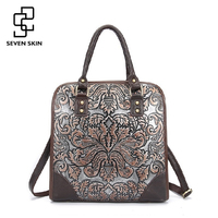 Famous Brand Ladies Handbags Genuine Leather Women Bag Casual Tote Floral Print Shoulder Bags 2016 Sac