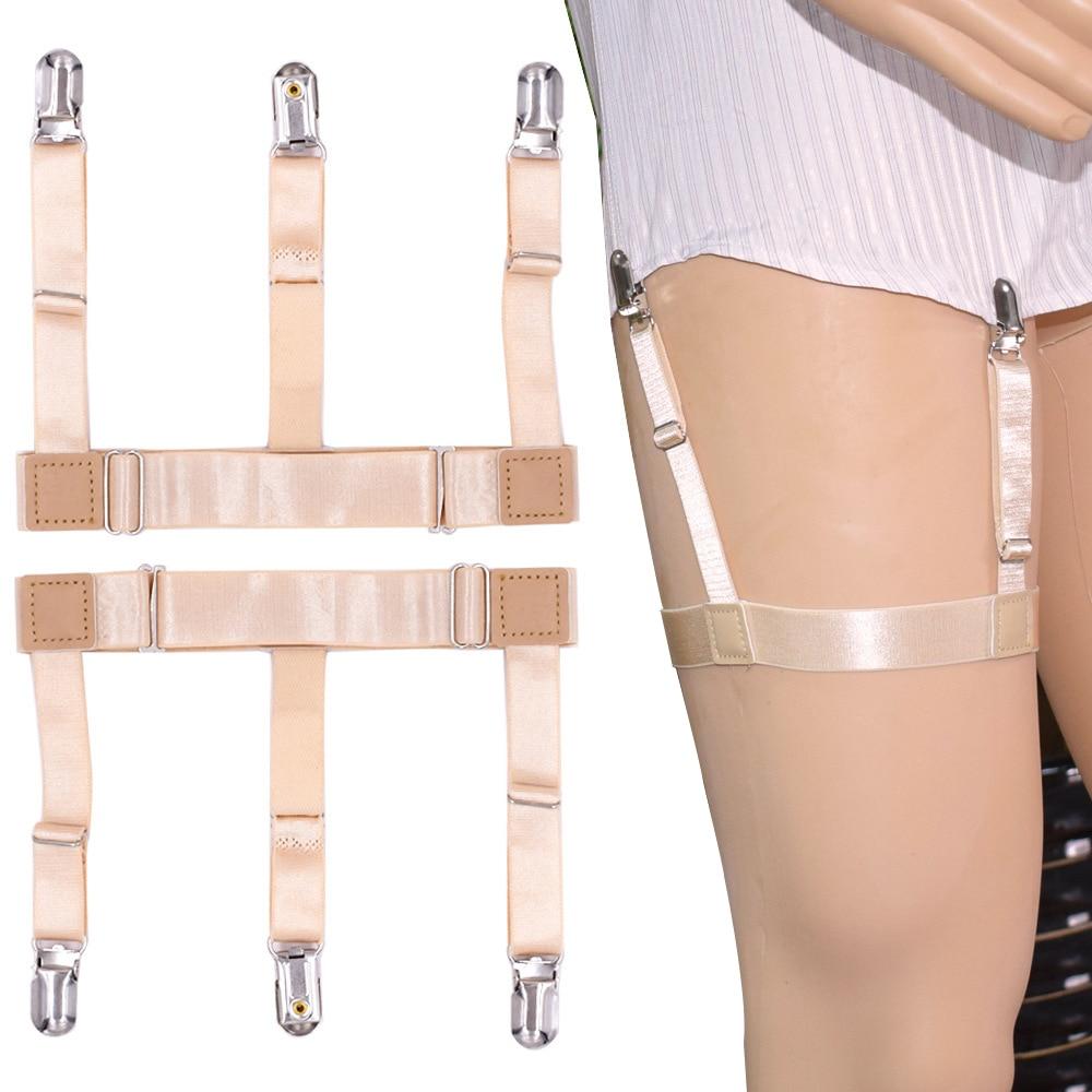 Women Mens Sexy Shirt Dress Stays Garters For Men Skin Color Uniform Elastic Adjustable Leg Suspenders Holders Straps Shirt Tuck