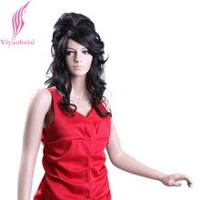 Yiyaobess 28inch Synthetic Wavy Long Black Wigs For Women Bridal Hair Wedding Wig Japanese Fiber