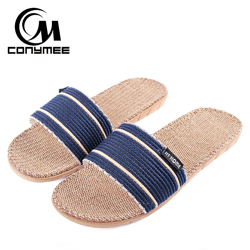 46a55928ab0c Summer 2018 Mens Flax Shoes Breathable Beach Slippers Sandals Linen Casual  Sneakers For Home Indoor Flip Flops Big Size-in Slippers from Shoes on ...
