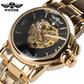 Promotional New Skeleton Watches Women Winner Steel Strap Mechanical Dress Watch Clocks Women Gold Whatch Erkek Saat Free Ship