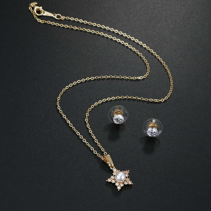 EMMAYA New Simulated Pearl Cz Jewelry Sets Star Pendant Necklace Earrings For Women Wholesale Price