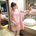 Maternidade dress primavera e outono moda de nova lace dress coreano roupas de maternidade bonito dress para as mulheres grávidas
