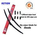Car Windshield Wiper Blade Para Skoda Superb, OCTAVIA, Fabia, rápido, Yeti, Citigo, escova, bracketless limpa, borracha Natural, Acessórios do carro