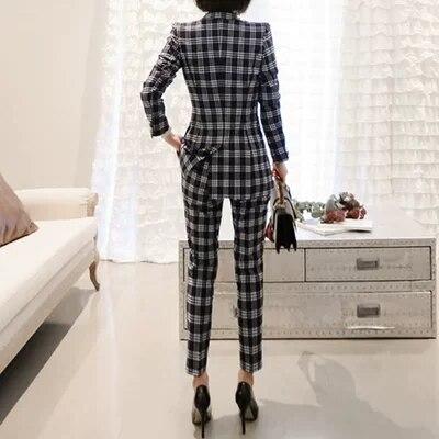 Carreaux Taille Deux Travail Nouveau Grande Lieu Mode Ol piece Womwn De À La 1 Suit Dames Féminine Femmes Printemps Costume wqYx4ZE