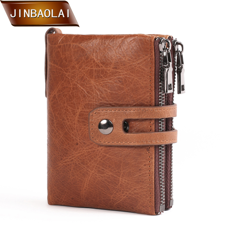 JINBAOLAI Genuine Leather Men Wallet Small Men Vintage Wallets Double Zipper&Hasp Male Portomonee Short Coin Purse Carteira