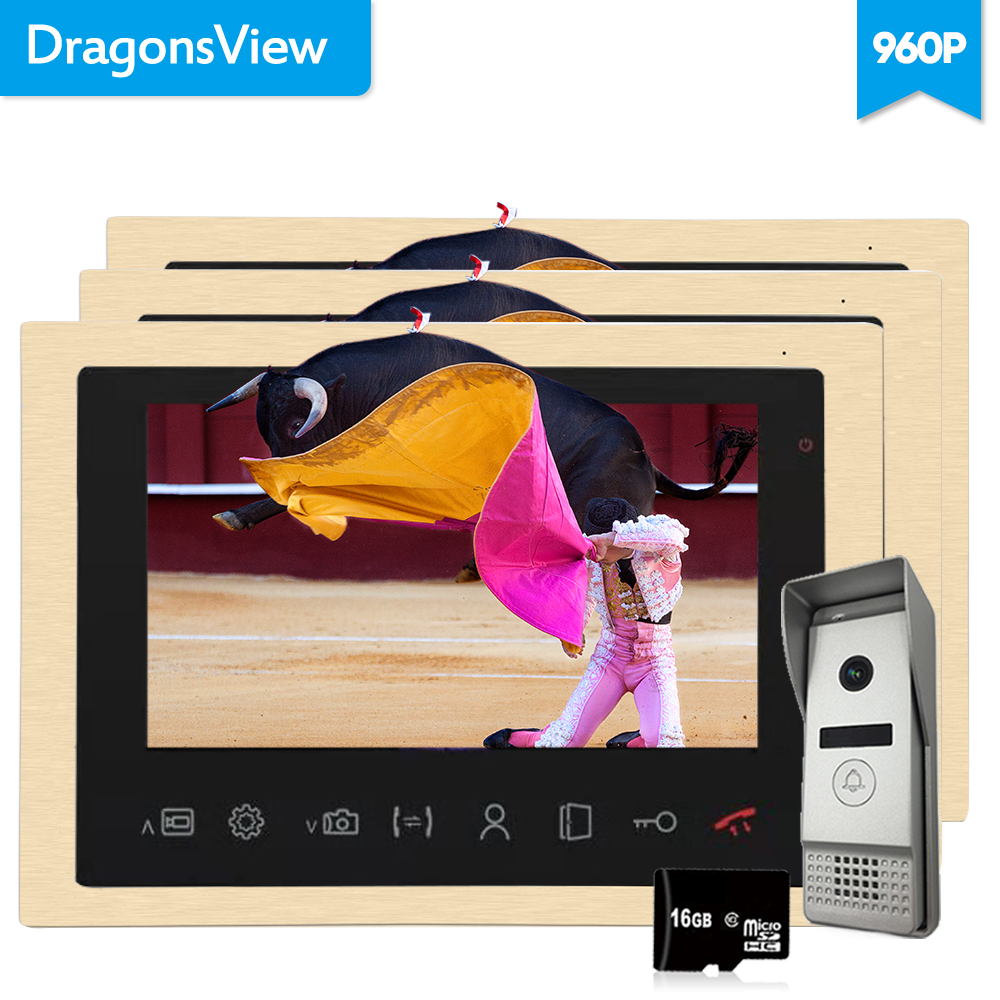 Dragonsview  10 Inch Record Video Door Phone Intercom System 1.3MP  960P AHD 2.3mm Lens Metal Unlock Outdoor Panel SD Card