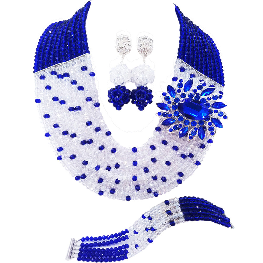 Fashion Royal Blue Transparent Crystal Beaded African Costume Jewelry Set Nigerian Wedding Multistrands Necklace 10C-SZ016Fashion Royal Blue Transparent Crystal Beaded African Costume Jewelry Set Nigerian Wedding Multistrands Necklace 10C-SZ016