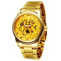 2018 Top Brand Luxury Fashion Men Gold Black Skeleton Full Stainless Steel Automatic Mechanical Watches Male