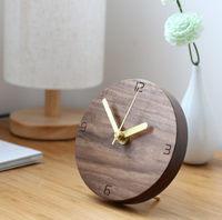 Japanese Fashion Simple Clock Creative Design Mute Decorative Desktop Pendulum Clock Solid Wood Clock Bedroom Alarm Clock Q205