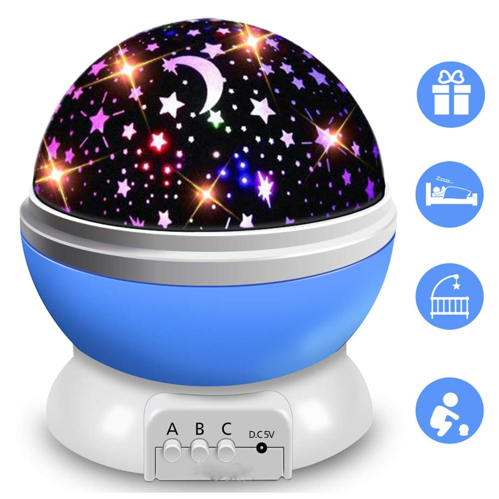 Starry Sky Rotating LED Night Light Projector Battery USB Operated Children's Bedroom Night Lamp Moon Projection Light Kids Gift
