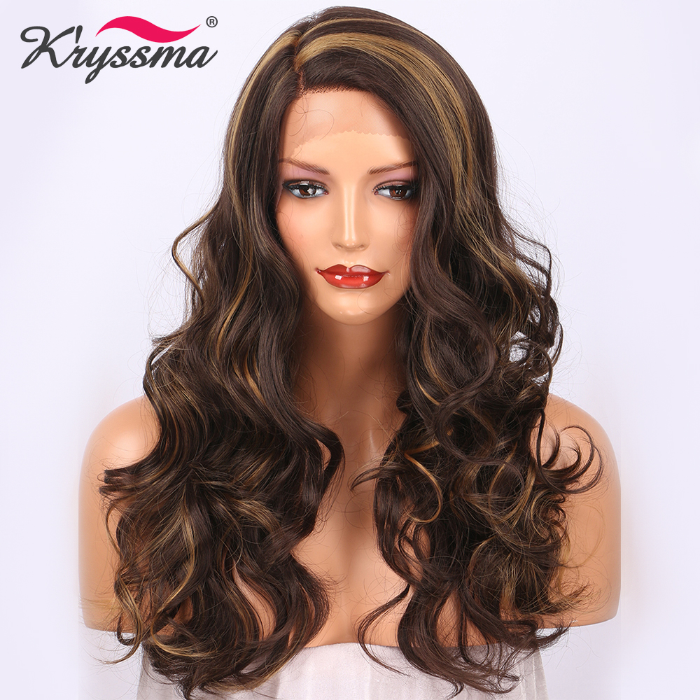 Brown Synthetic Lace Front Wig Mixed Color Long Wavy Wigs for Women Highlight Blonde Two Tone