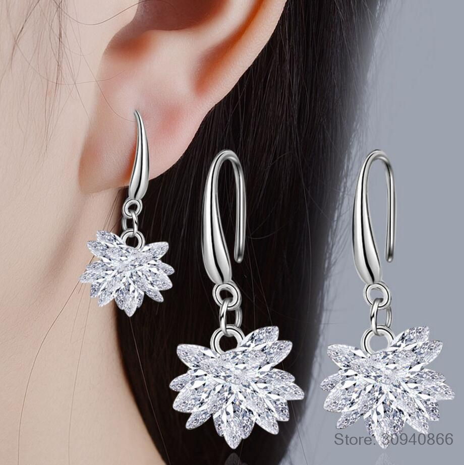 2019 new 925 silver Earrings Female Ice flower Crystal New woman snow glob name earrings Twins micro set hot Fine jewelry