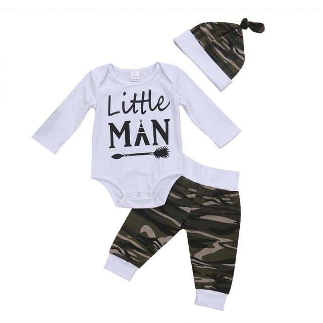 5593a35c8d 3 Pçs/set Camo Roupas Bebê Recém-nascido Menino Pequeno Homem de Manga Longa