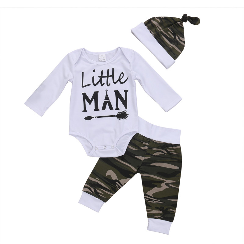 3PCS/Set Camo Newborn Baby Boy Clothes Little Man Long Sleeve Cotton Romper Bodysuit Tops+Long Pant Trouser Hat Kid Clothing Set 2017 hot newborn infant baby boy girl clothes love heart bodysuit romper pant hat 3pcs outfit autumn suit clothing set