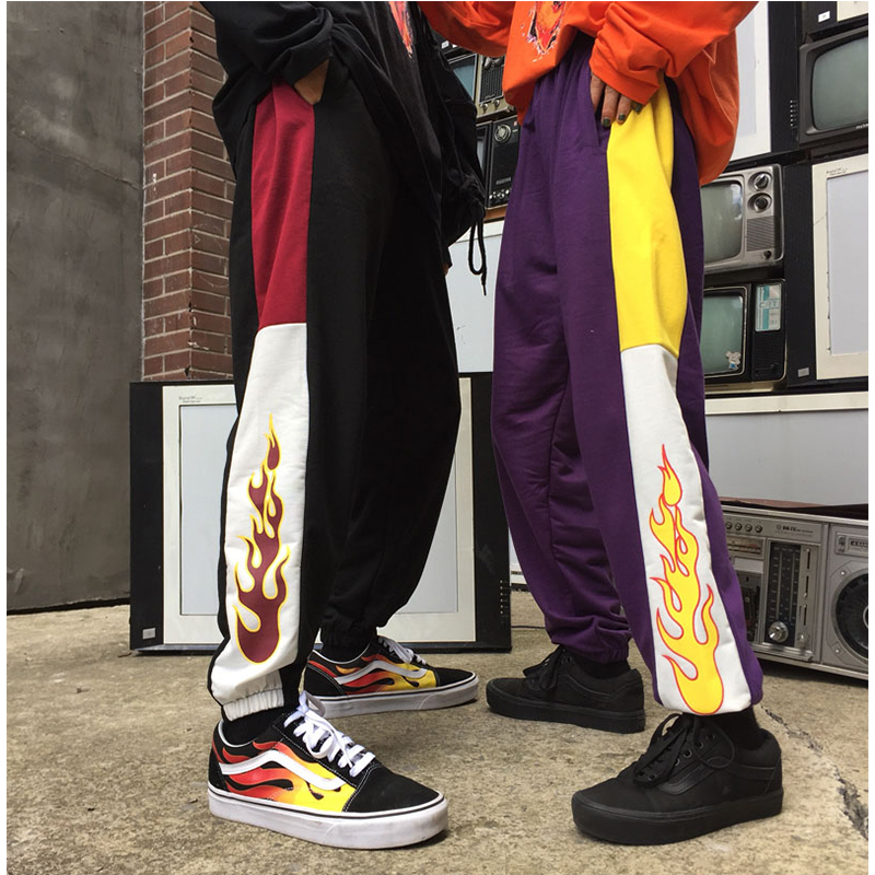 Korea ulzzang Harajuku style loose casual flame stitching trousers student   wide     leg     pants   couple beam harem   pants