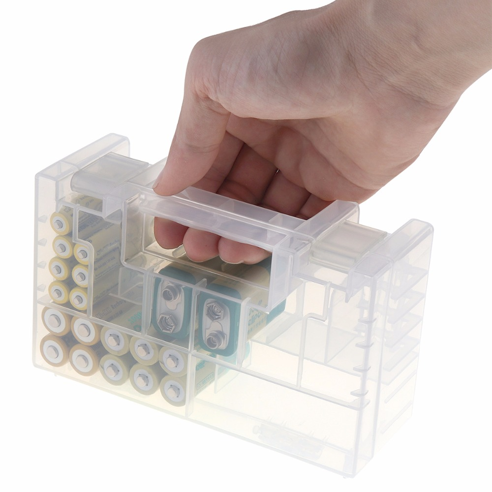 Powerlion Durable Clear Hard Plastic AA Battery AAA Case Holder Storage Box for 20pcs AA / 14pcs AAA / 2pcs 9V Batterries цена