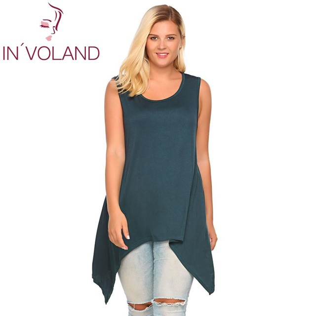 IN'VOLAND Women Tank Top Plus Size Solid Casual Sleeveless Solid Asymmetrical Above Knee Feminino Vest Oversized XL-5XL