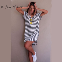 Casual Striped Dress V Neck Sexy Women Cotton Straight Long T Shirt Top Tee Boho Vestido