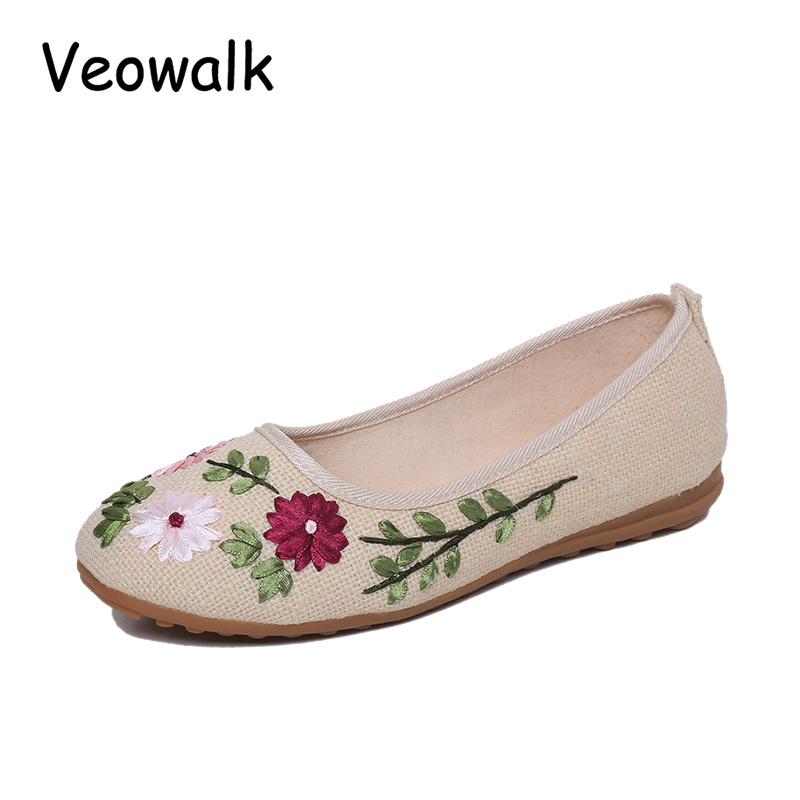 Veowalk Vintage Embroidered Women Flats Flower Slip On Cotton Fabric Linen Comfortable Ballerina Flat Shoes Sapato Feminino vintage embroidery women flats chinese floral canvas embroidered shoes national old beijing cloth single dance soft flats