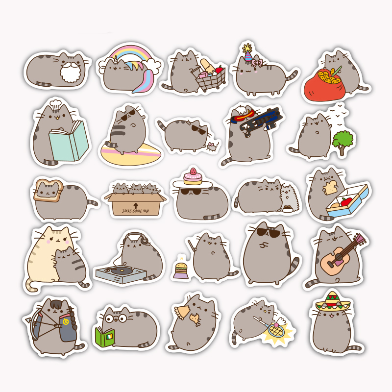 TD ZW 100 Pieces/lot Cartoon Pusheen Cat Cute Stickers For Tab Phone Laptop  TV Fridge Bicycle Pvc Waterproof Decal Toy Sticker