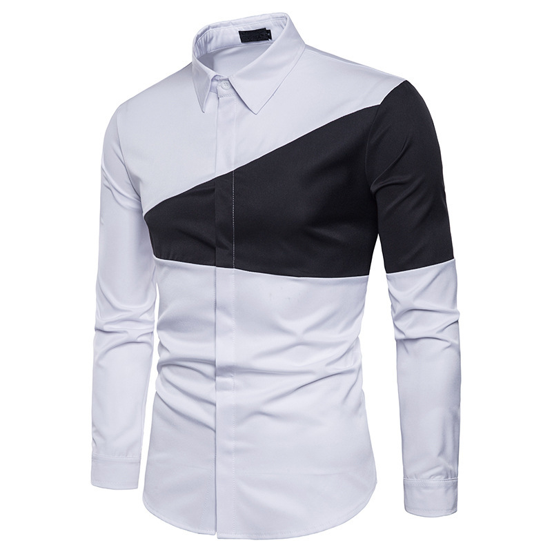 Mens autumn winter two color triangle stitching men fashion dress shirts lapel long sleeves casual shirt camisa slim 2 color