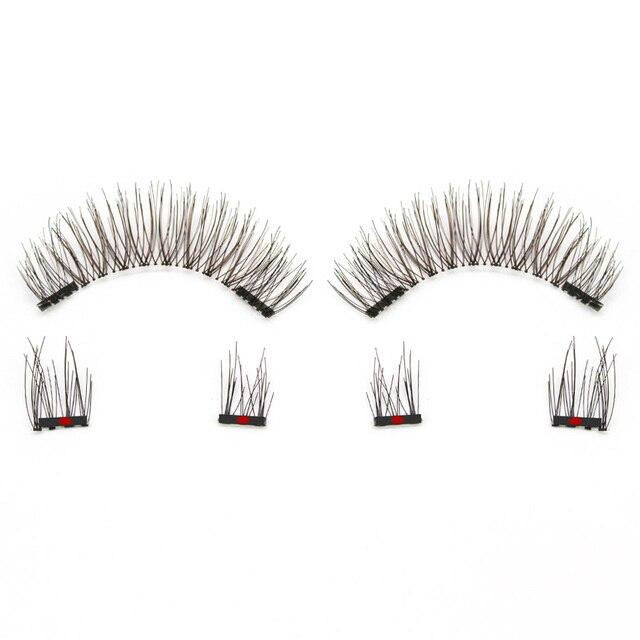 Genailish Magnetic eyelashes 4 part magnets handmade 3D/6D magnet lashes natural false eyelash comfortable with Gift Box SCT04-1 6