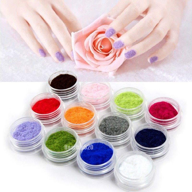 12 Color 3D Velvet Flocking Powder Nail Art