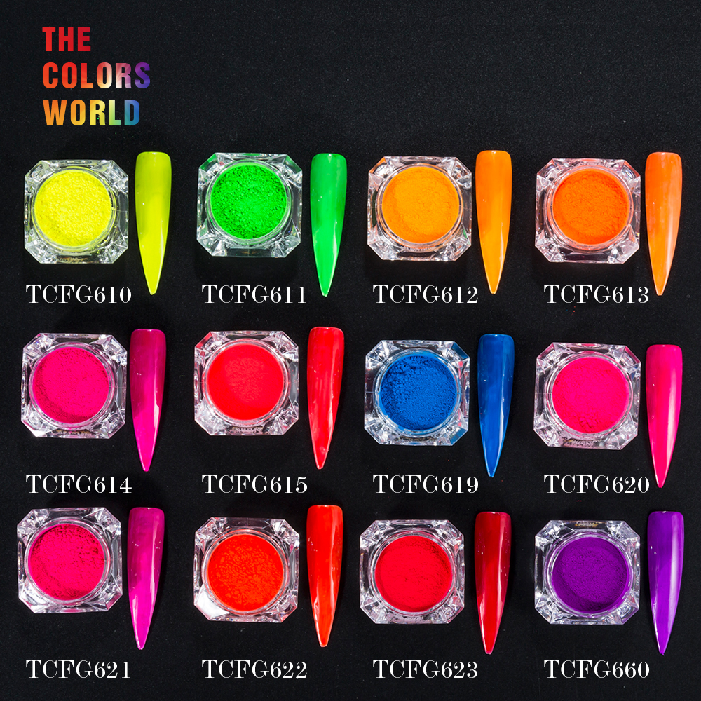 TCT-003 12 Neon Colors Fluorescent Neon Pigment PowderFor Nail Polish Painting Nail Gel Nail Art Decoration And DIY Decoration