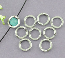 200Pcs Silver Tone Round Metal Circle Beads Frames Charms Jewelry Findings Component Wholesales 13mm