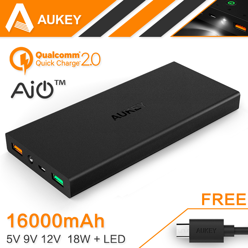 AUKEY Quick Charge 2 0 16000mAh Portable External Battery 5V 9V 12V USB Dual Mobile Power