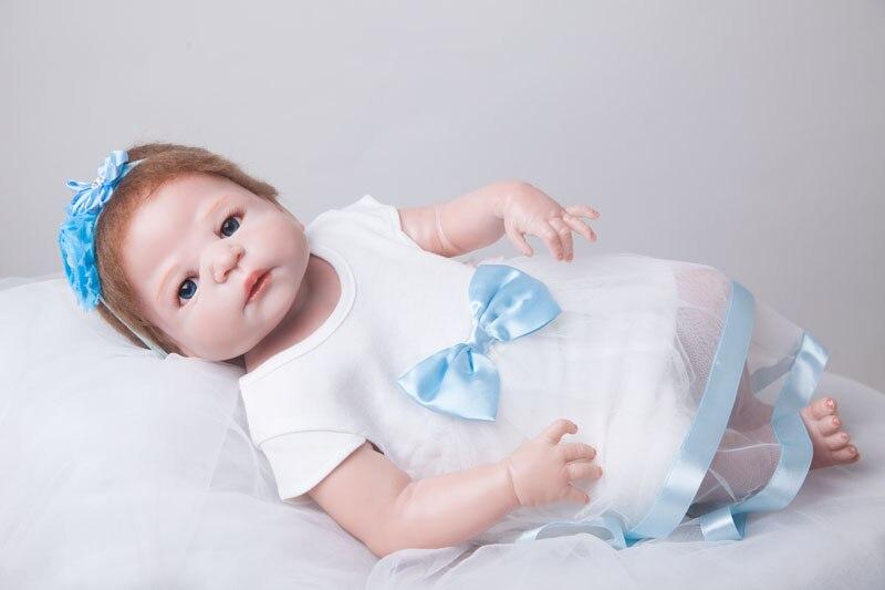 55 cm Full Body Silicone Reborn Bébé Poupée Jouets Jouer Maison Jouet Nouveau-Né Fille Bébé De Noël Cadeau Cadeau D'anniversaire Filles brinquedos Ba