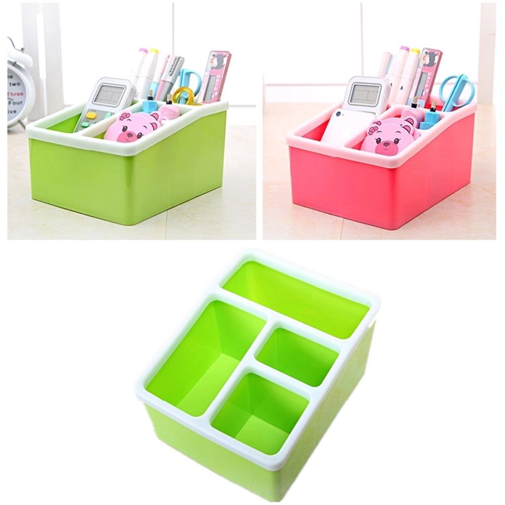 Desk Organizer 4 Slots Desktop Storage Box Case Pen Pencil Holder Plastic Cosmetics Make Up Organizer Container