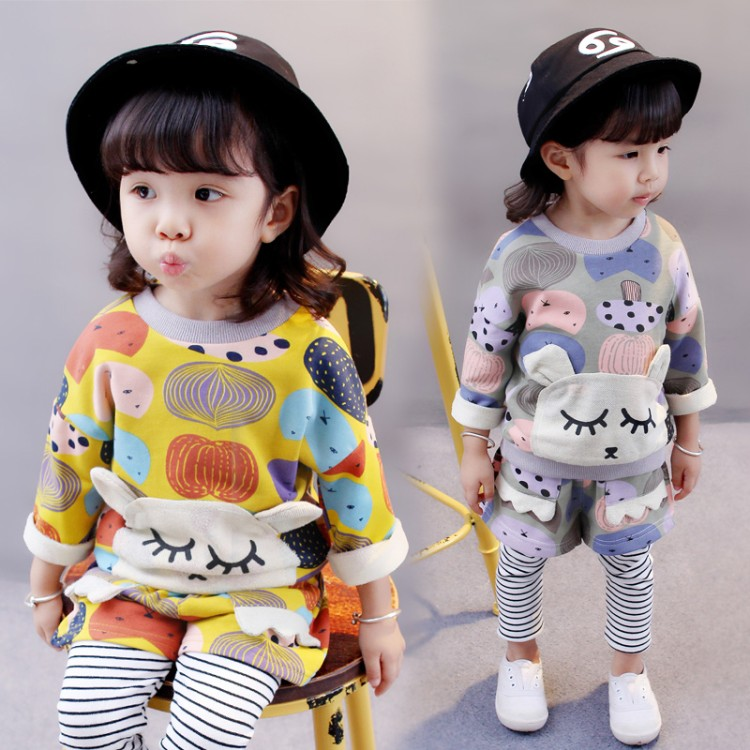 spring autumn new fashion 1-6 years old baby clothes sets girls Dolls tops + pants two pieces sets children clothing sets