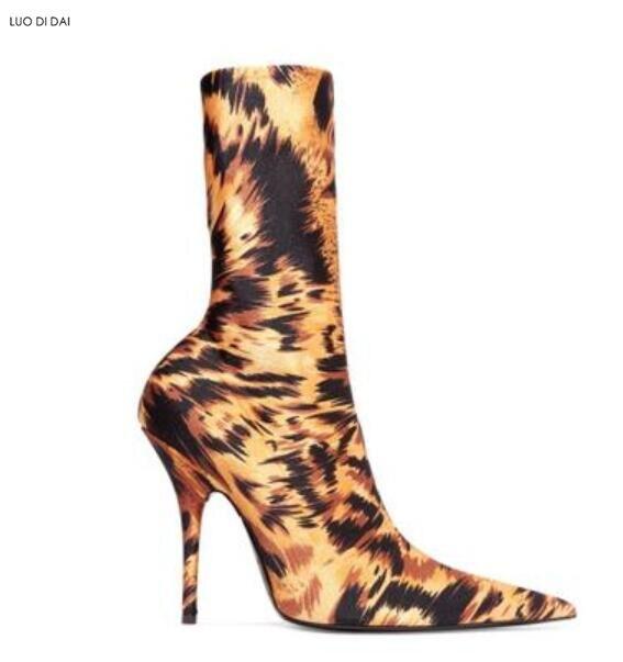 Bottes Talon De Hautes Dames Chaussette Léopard Femmes Élastique as Chaussures 2019 Pic Cuissardes Chaussons Soirée Sur As Sexy Mince Pic Vintage qtgnY