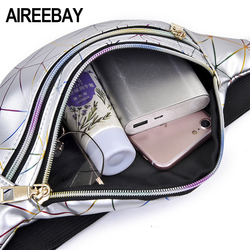 AIREEBAY Holographic Waist Bags Women Silver Fanny Pack Female Belt Bag Black Geometric Waist Packs Laser Chest Phone Pouch 5
